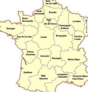 Frankrikes Regionkarta Och Guide Frankrike Gevgelija Tourism